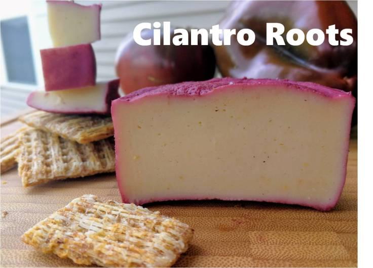 Aquafaba cheese marinated in red wine